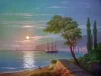 Oleg Kulagin Sea shore in moonlight. Seascape