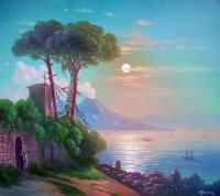 Oleg Kulagin Neapolitan night with views of the Vesuvius. Copies of paintings