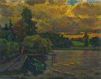 Vasily Belikov Boat on sundown Landscape