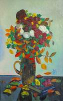 Moesey Li Autumn flowers and leaves Still Life