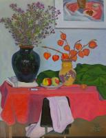 Moesey Li Still life with red tablecloth Still Life