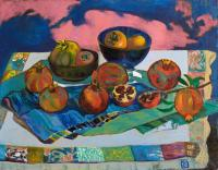 Moesey Li Pomegranates and persimmon Still Life